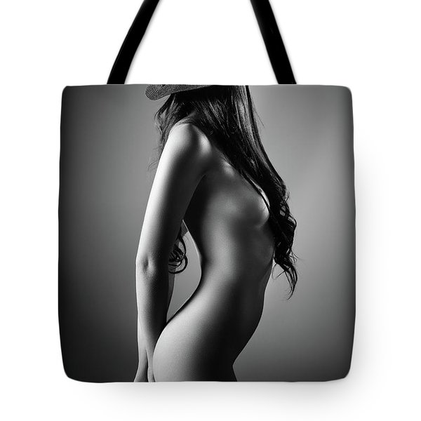 Nude Woman With A Hat Tote Bag