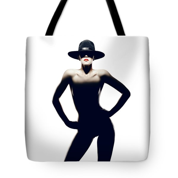 Nude Woman With Hat Tote Bag