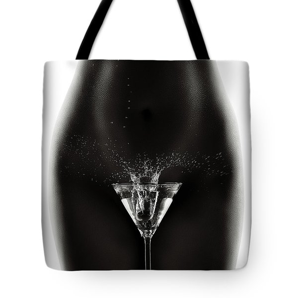 Nude Woman With Martini Splash Tote Bag