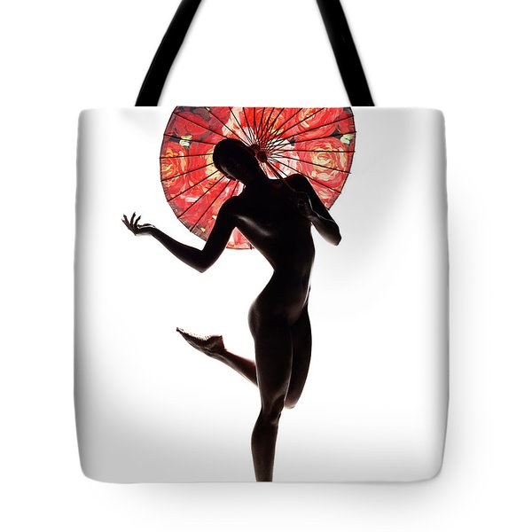 Nude Woman With Red Parasol Tote Bag