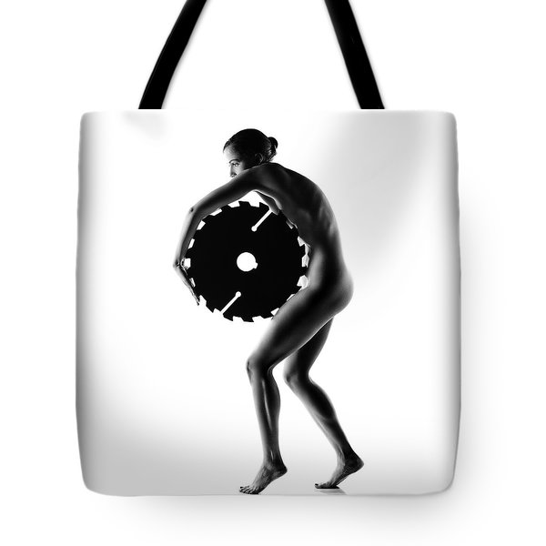 Nude Woman With Saw Blade 1 Tote Bag