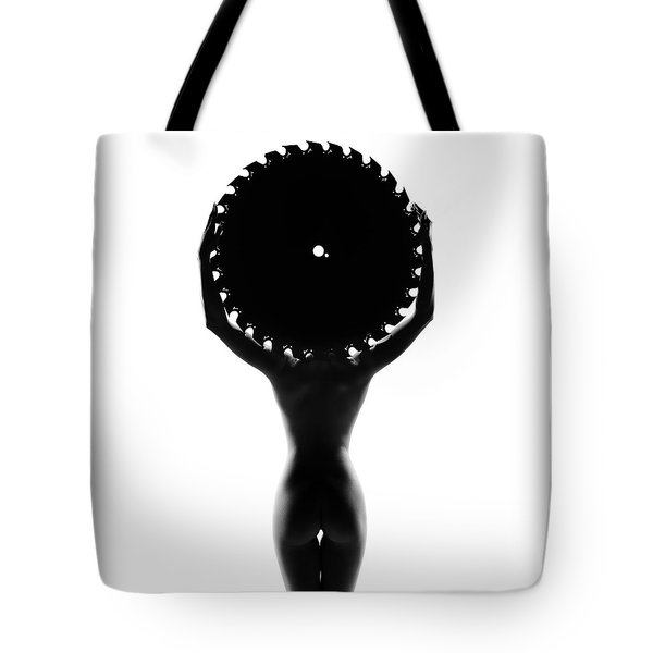 Nude Woman With Saw Blade 3 Tote Bag
