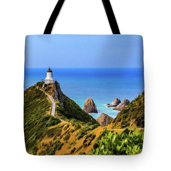 Nugget Point Lighthouse, New Zealand Tote Bag