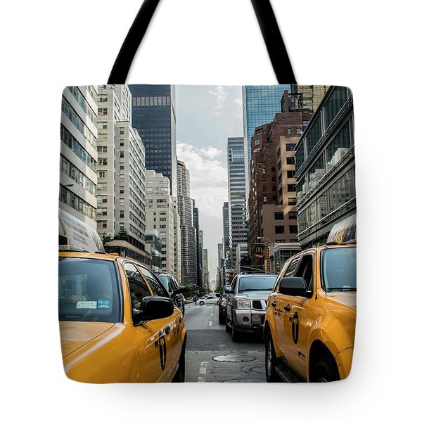 Tote Bag featuring the photograph Ny Taxis by Top Wallpapers