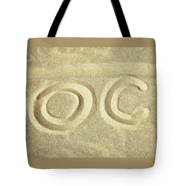 Tote Bag featuring the photograph O C In The Ocean City Sand by Bill Swartwout Fine Art Photography