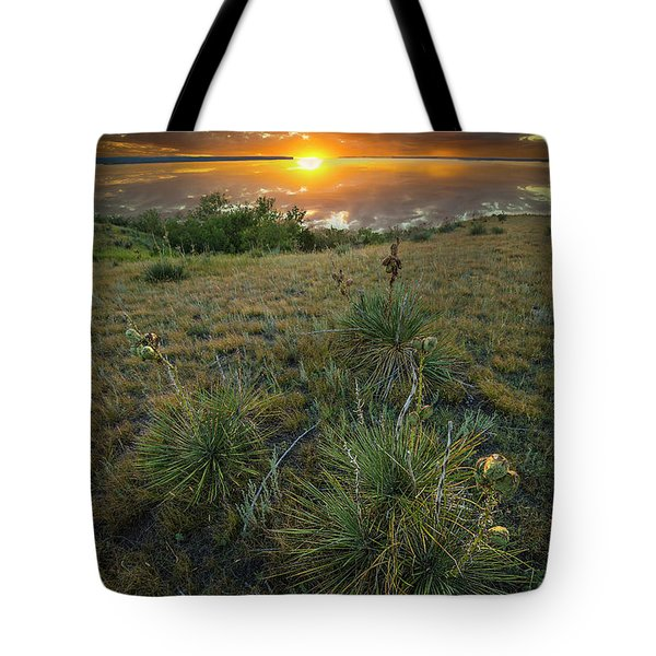 Tote Bag featuring the photograph Oahe Sunset  by Aaron J Groen