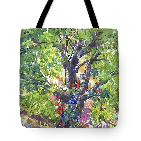Tote Bag featuring the painting Oak And Poison Ivy by Judith Kunzle