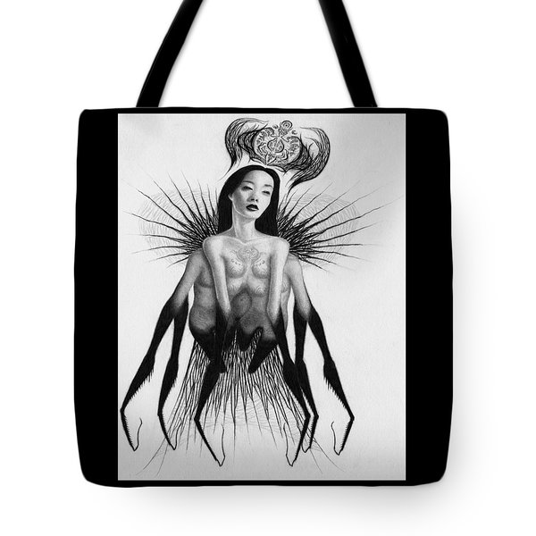 Tote Bag featuring the drawing Oblivion Queen - Artwork by Ryan Nieves