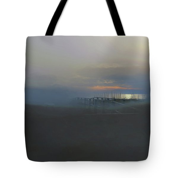 Tote Bag featuring the digital art Ocean Mist by Gina Harrison