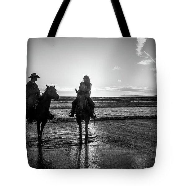 Ocean Sunset On Horseback Tote Bag