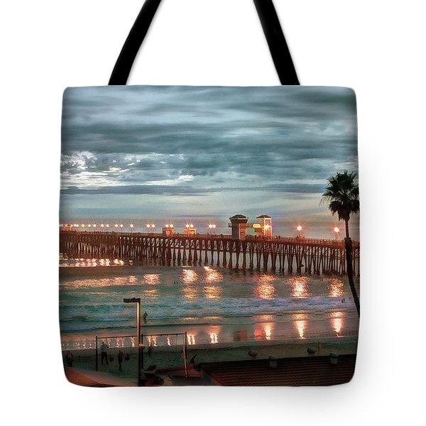 Oceanside Pier At Dusk Tote Bag