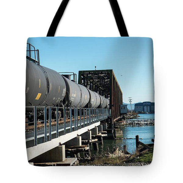 Oil Train Over Swinomish Channel Tote Bag