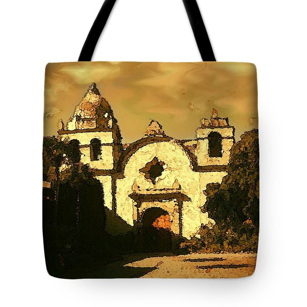 Old Carmel Mission - Watercolor Painting Tote Bag