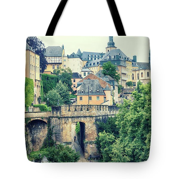 Tote Bag featuring the photograph old city Luxembourg from above by Ariadna De Raadt