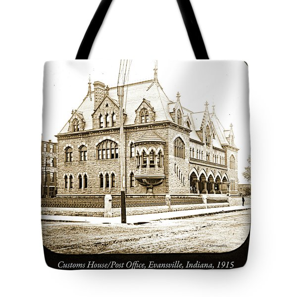 Old Customs House And Post Office, Evansville, Indiana, 1915 Tote Bag