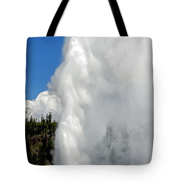 Old Faithful With Steam And Vapor Tote Bag