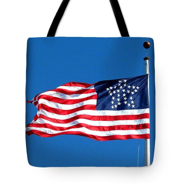 Old Glory Over Fort Pulaski Tote Bag