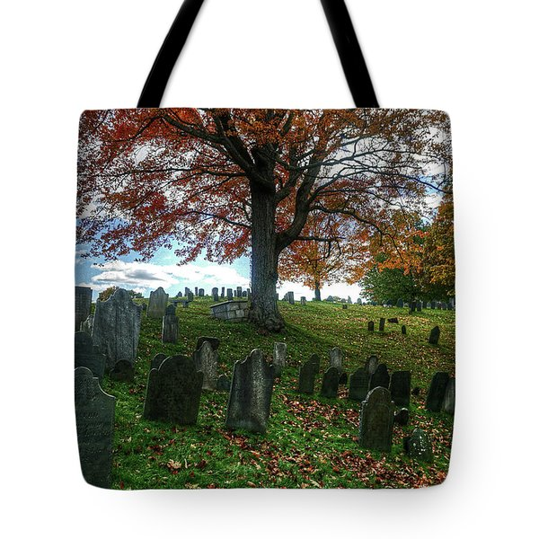 Tote Bag featuring the photograph Old Hill Burying Ground In Autumn by Wayne Marshall Chase