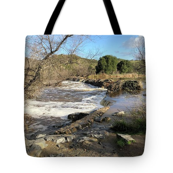 Old Mission Trail Dam And Flume Tote Bag