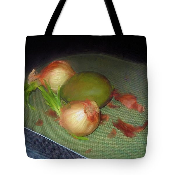Tote Bag featuring the mixed media Old Onions And Peels, Stylized by Lynda Lehmann