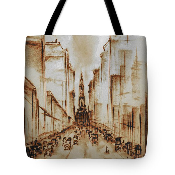 Old Philadelphia City Hall 1920 - Pencil Drawing Tote Bag