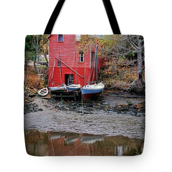 Old Red House In Maine Tote Bag