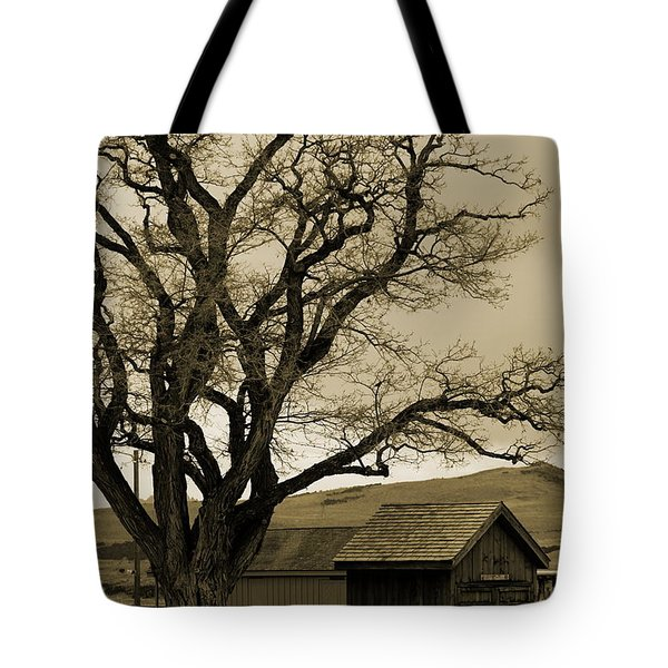 Old Shanty In Sepia Tote Bag