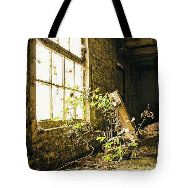 Old Wheelbarrow In Abandoned Factory Tote Bag