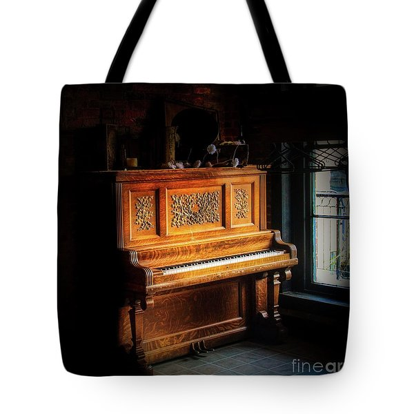 Old Wooden Piano Tote Bag