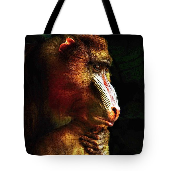 Tote Bag featuring the mixed media Old World Mandrill by Susan Maxwell Schmidt