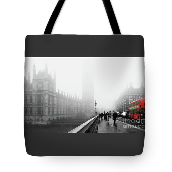 On A Cold Winters Foggy  Day In London Tote Bag