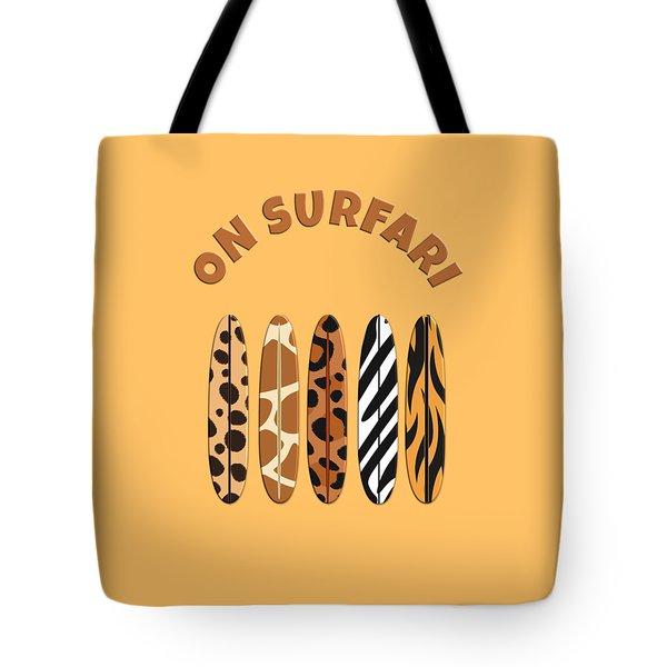 On Surfari Animal Print Surfboards  Tote Bag
