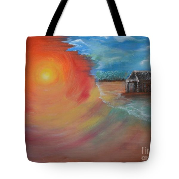 Tote Bag featuring the painting On The Edge by Sabine ShintaraRose