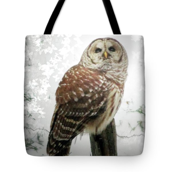 On This Snowy Day The Barred Owl Perches Tote Bag