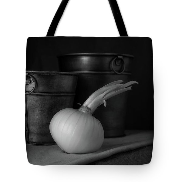 Onion In Black And White Tote Bag