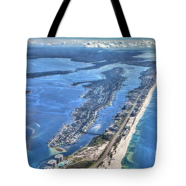 Tote Bag featuring the photograph Ono Island-5112-tm by Gulf Coast Aerials -