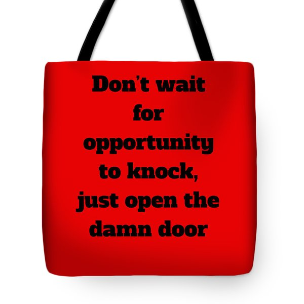 Open The Door      Black On Red Tote Bag