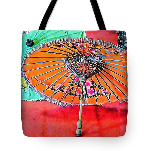 Tote Bag featuring the photograph Orange And Green Oriental Parasols by Dorothy Berry-Lound