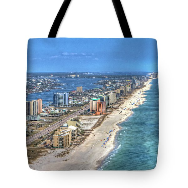 Tote Bag featuring the photograph Orange Beach East by Gulf Coast Aerials -