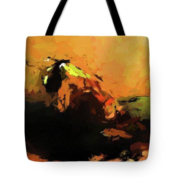 Orange Bull Cat Tote Bag