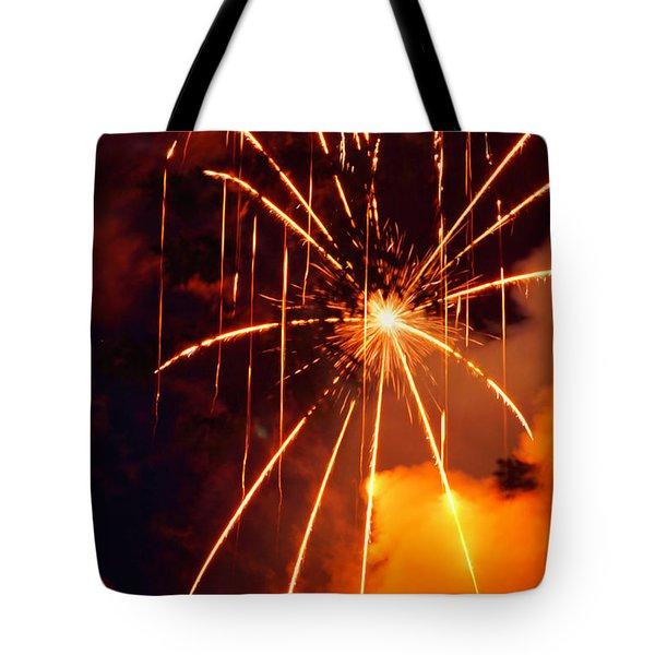 Orange Fireworks Tote Bag
