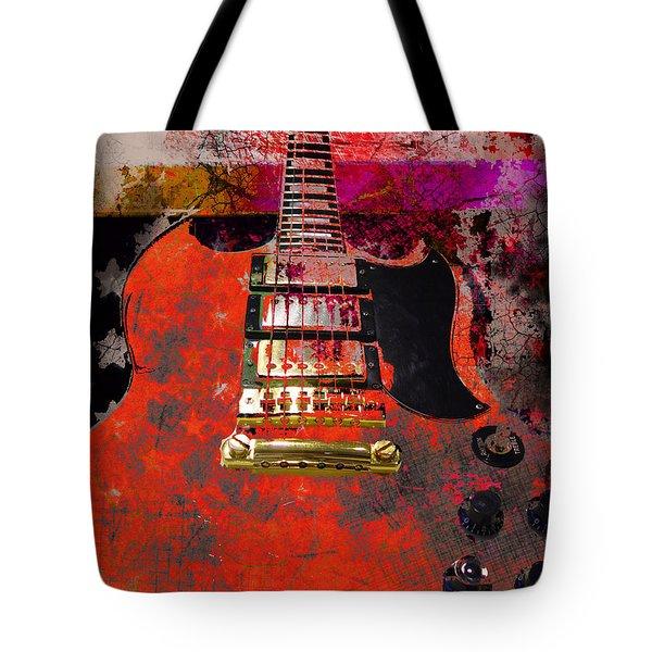 Orange Electric Guitar And American Flag Tote Bag
