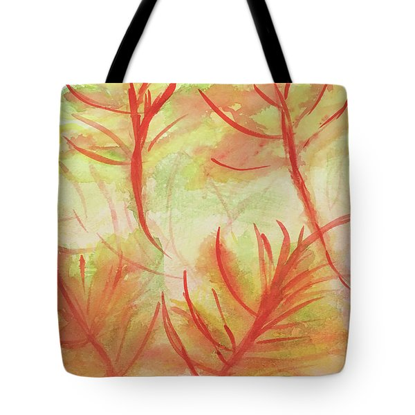 Orange Fanciful Leaves Tote Bag