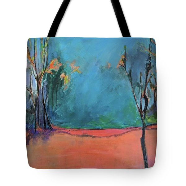 Tote Bag featuring the painting Orange Lake by Jillian Goldberg