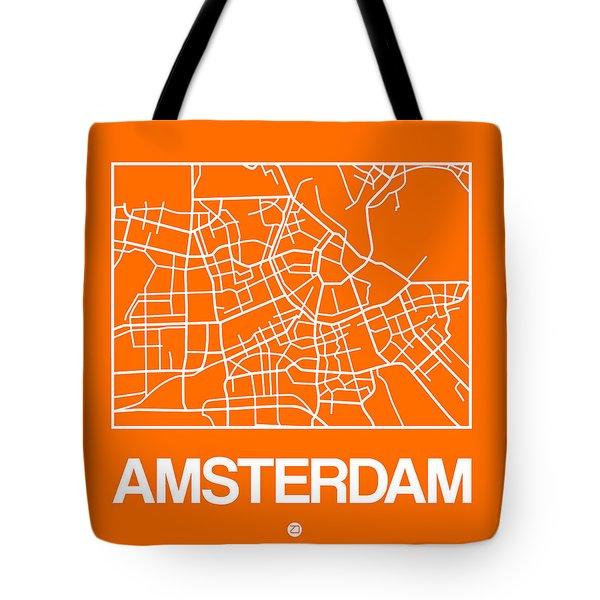 Orange Map Of Amsterdam Tote Bag