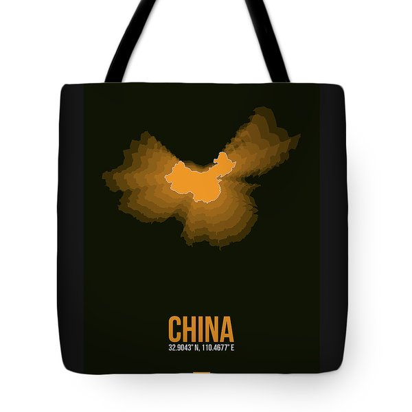 Orange Map Of China  Tote Bag