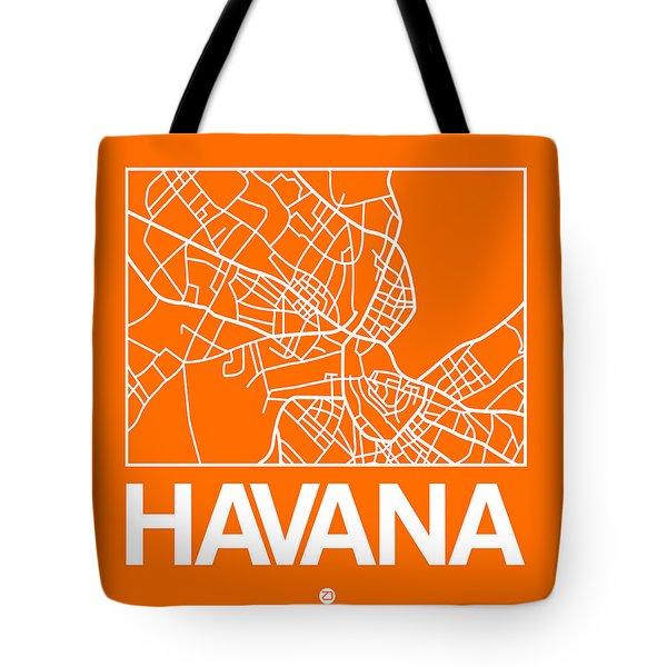 Orange Map Of Havana Tote Bag