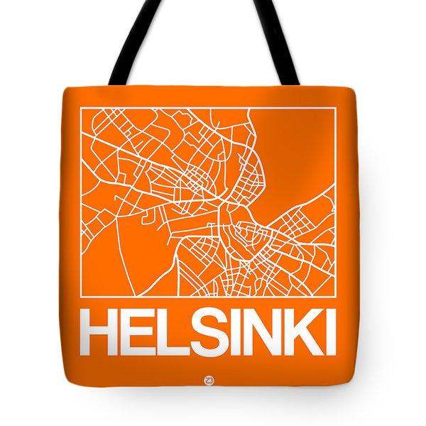 Orange Map Of Helsinki Tote Bag