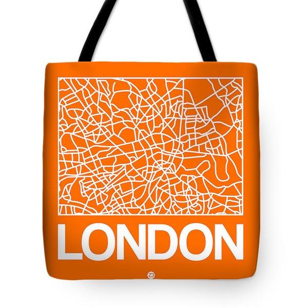 Orange Map Of London Tote Bag