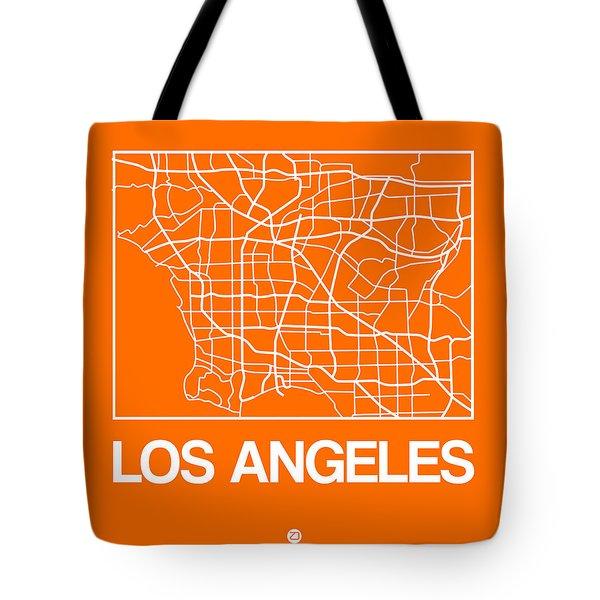 Orange Map Of Los Angeles Tote Bag
